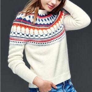 Gap Fair Isle Circular Wool Sweater Winter White M